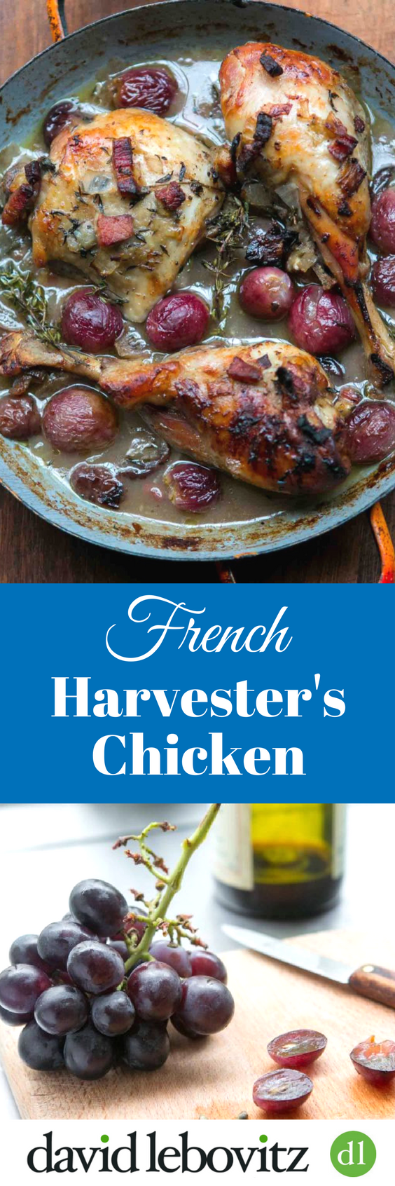 This deeply flavorful chicken dish slowly braises in the oven, making a delicious sauce, redolent of bacon and juicy grapes!