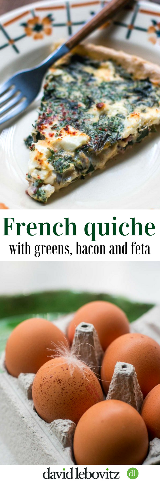 A French quiche recipe with greens, bacon and feta, bursting with flavor!