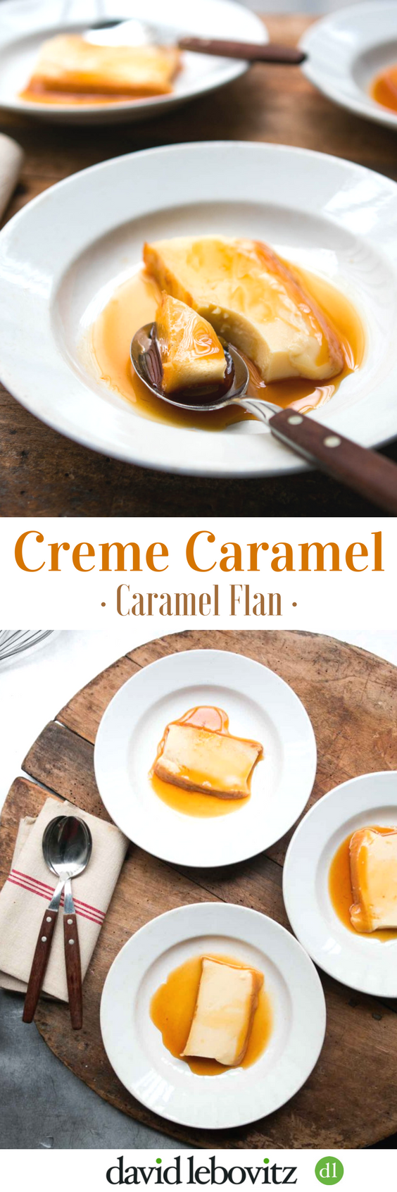 Caramel Flan: The classic French custard served with dark caramel surrounding a creamy, cool custard.