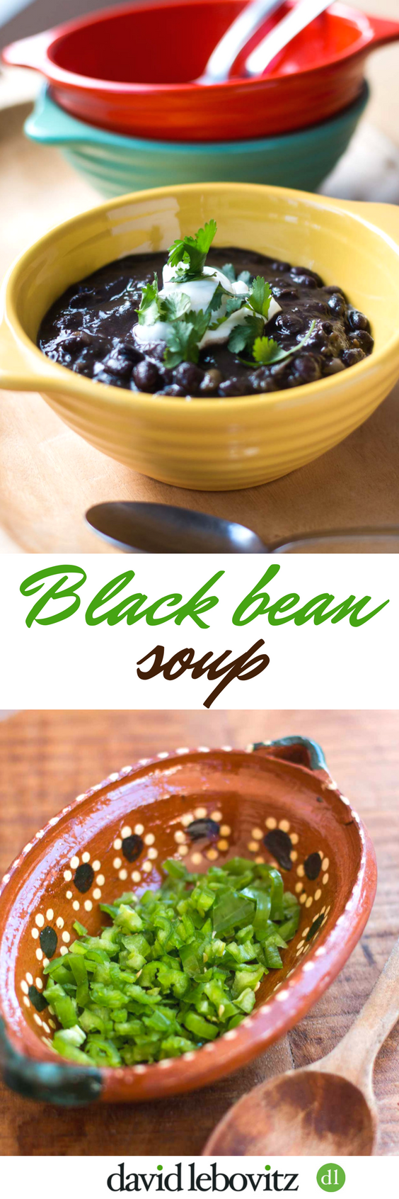 A hearty black bean soup recipe, perfect for warming up with a touch of spice and cool sour cream.