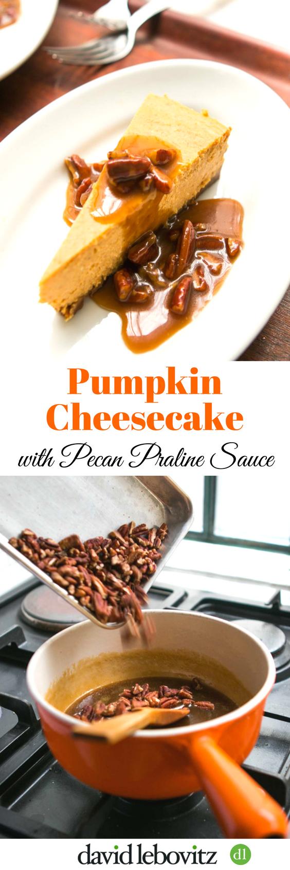 Pumpkin Cheesecake with Pecan Praline Sauce - a perfect holiday dessert!