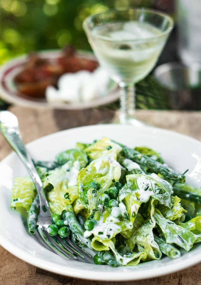 Green Salad With Green Beans Peas And Buttermilk Ranch Dressing