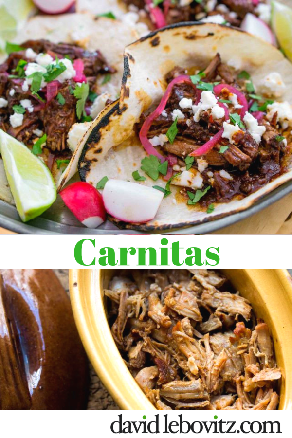 A recipe for Mexican carnitas, pulled pork, perfect for tacos or a Mexican food fiesta!
