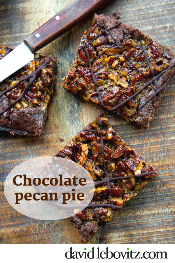 A delicious slab pie, packed with pecans and dark chocolate
