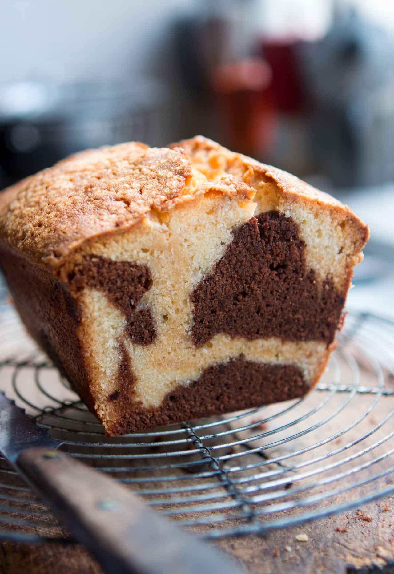 Chocolate, Dulce de Leche, and Vanilla Marble Cake